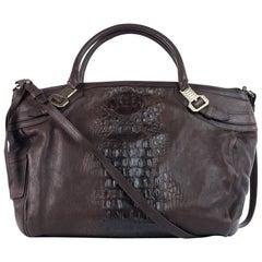 Roberto Cavalli Womens Brown Leather Croc Embossed Shoulder Bag