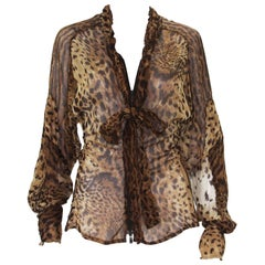 Tom Ford for Yves Saint Laurent S/S 2002 Safari Collection Leopard Silk Top F 38