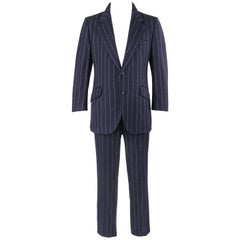 BILL BLASS c.1970's 2 Pc Navy Blue Wool Signature Pinstripe Jacket Pant Suit Set
