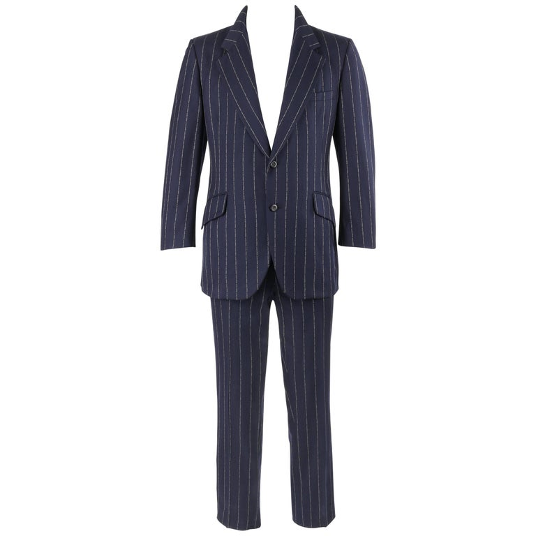 BILL BLASS c.1970's 2 Pc Navy Blue Wool Signature Pinstripe Jacket Pant Suit Set
