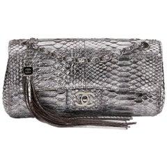 2000s Chanel Metallic Silver Python Classic Single Flap Bag