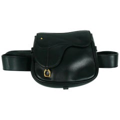 Gucci Vintage Convertible Black Leather Saddle Bag Belt