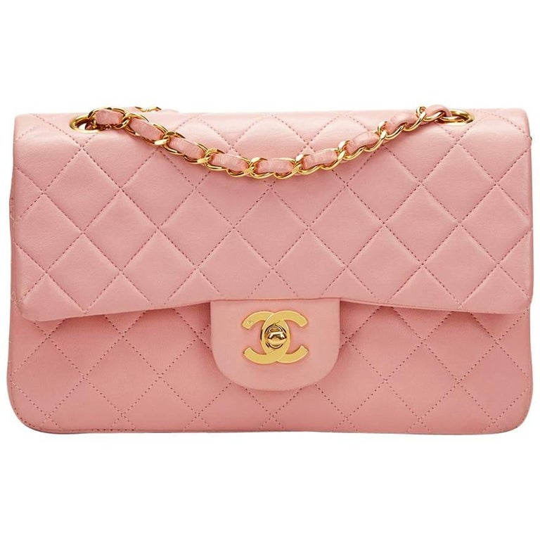 1990s Chanel Pink Quilted Lambskin Vintage Small Classic Double Flap For Sale