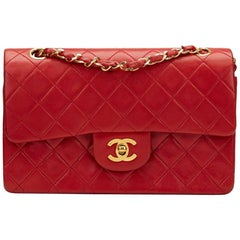 1980s Chanel Red Quilted Lambskin Vintage Small Classic Double Flap