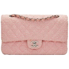 2000s Chanel Pink Quilted Tweed Medium Classic Double Flap Bag