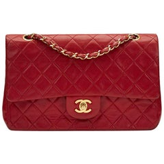 1990s Chanel Red Quilted Lambskin Vintage Medium Classic Double Flap Bag
