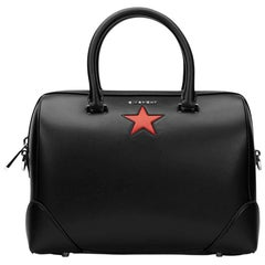 2010s Givenchy Black Calfskin Leather Medium Lucrezia Star