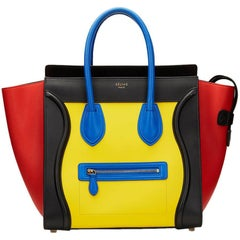 2010s Celine Primary Colour Smooth Calfskin Leather Mini Luggage Tote