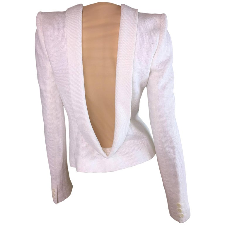NWT S/S 1998 Alexander McQueen Runway White Structured Nude Mesh Jacket
