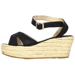 Jimmy Choo Black Embossed Snakeskin Platform Sandals Sz 36 with Box