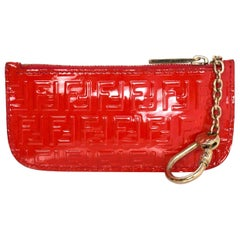 Fendi Red Patent Leather Card Case/Key Chain with Box and DB
