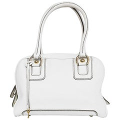 Dolce & Gabbana D&G White Leather Lily Zipper Detail Satchel Bag