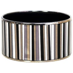 Hermes Black/Grey/White Extra Wide Carioca Stripes Enamel Bangle Bracelet Sz 65