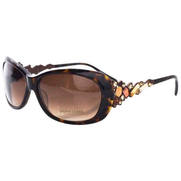 Judith Leiber JL1619 Brown Tortoise Swarovski Crystal Sunglasses rt. $620 For Sale