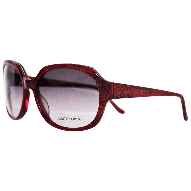 Judith Leiber JL1169 Red Swarovski Crystal Sunglasses w/ Box & Case
