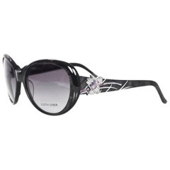 Judith Leiber JL1612 Black Glitter and Purple Crystal Sunglasses