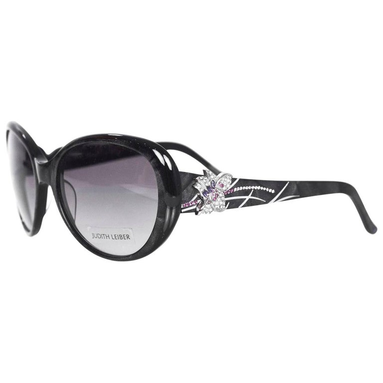 Judith Leiber JL1612 Black Glitter & Purple Crystal Sunglasses with Box & Case For Sale