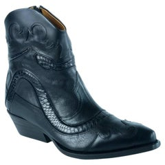 Roberto cavalli Leather Ankle Boots Snakeskin Trim Black