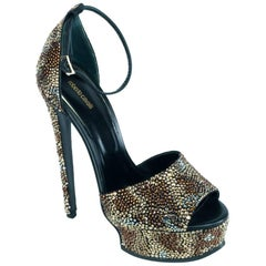 Roberto Cavalli Swarovski Crystal Cheetah Platform Sandals