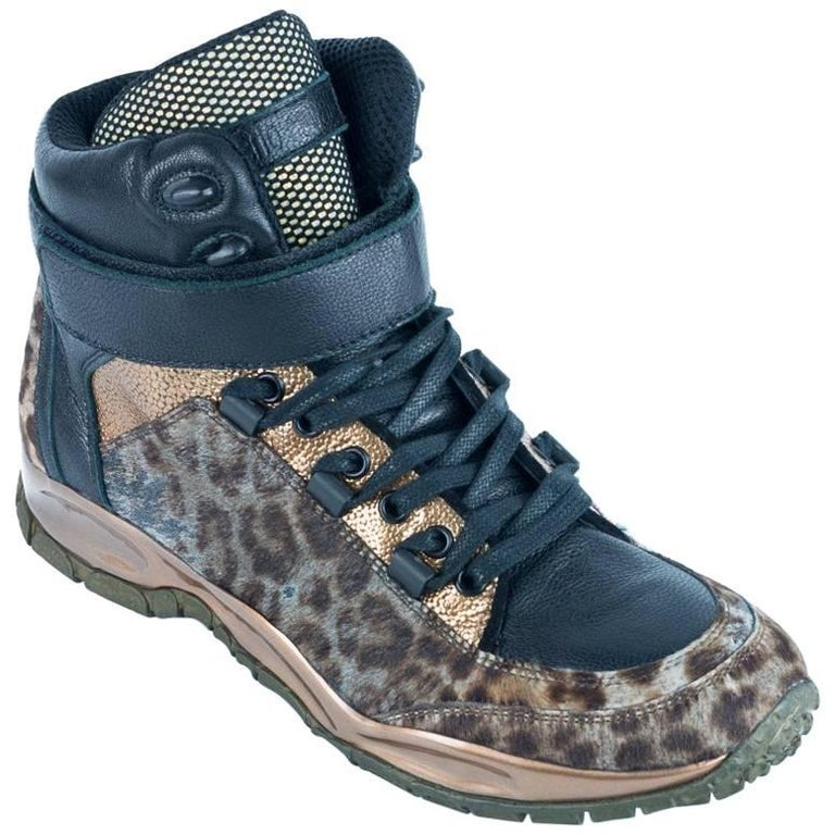 Roberto Cavalli Womens Leopard-Print High-Top Sneakers