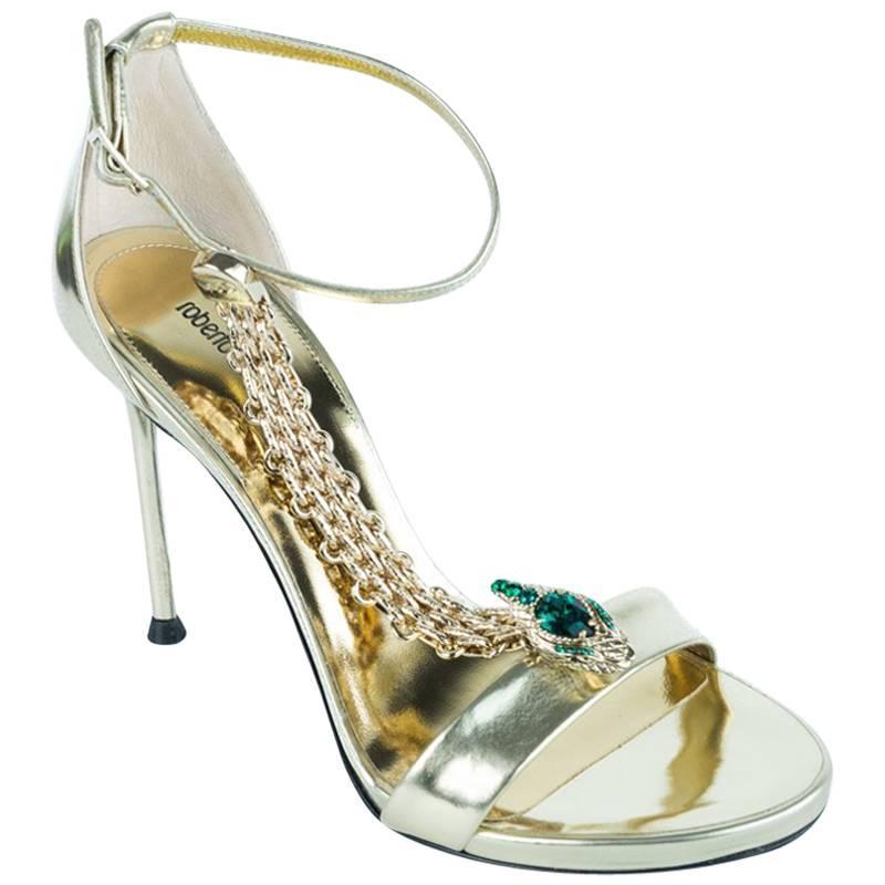 Roberto Cavalli Womens Metallic Gold Leather Chain High Heel Sandals For  Sale