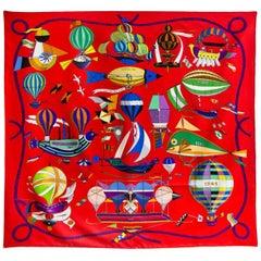 Hermes Les Folies du Ciel Balloon Print Silk 90cm Scarf with Box