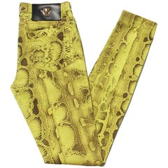 New Versace Snake Print Swarovski Crystals Leather Details Medusa Skinny Jeans