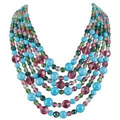 Beautiful multi row and glass bead necklace, Coppola e Toppo, 1950s