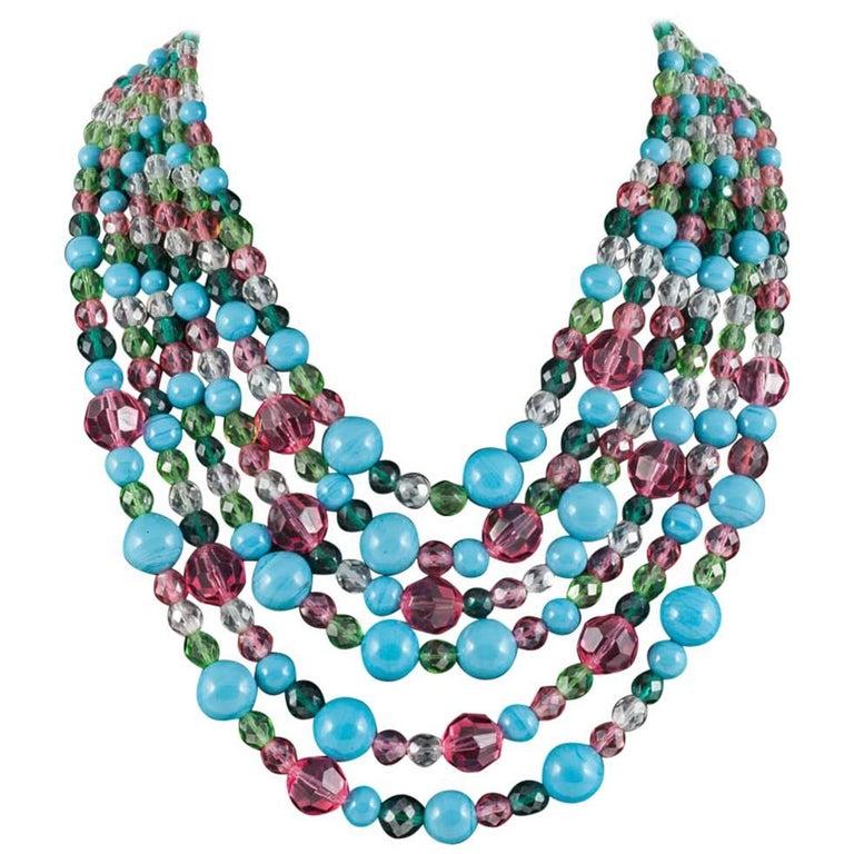 Beautiful multi row and glass bead necklace, Coppola e Toppo, 1950s 1
