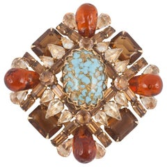 Spectacular unsigned brooch, Schreiner of NY, 1960s