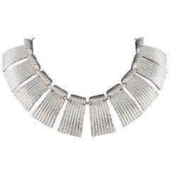 Modernist silvertone 'Cleopatra' collar, Vendome, 1960s