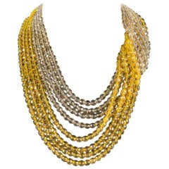 Yellow and clear crystal bead 'twist' necklace, Coppola e Toppo 1950s