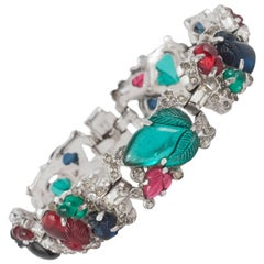 Beautiful moulded glass and paste 'fruit salad' bracelet, Trifari, 1930s