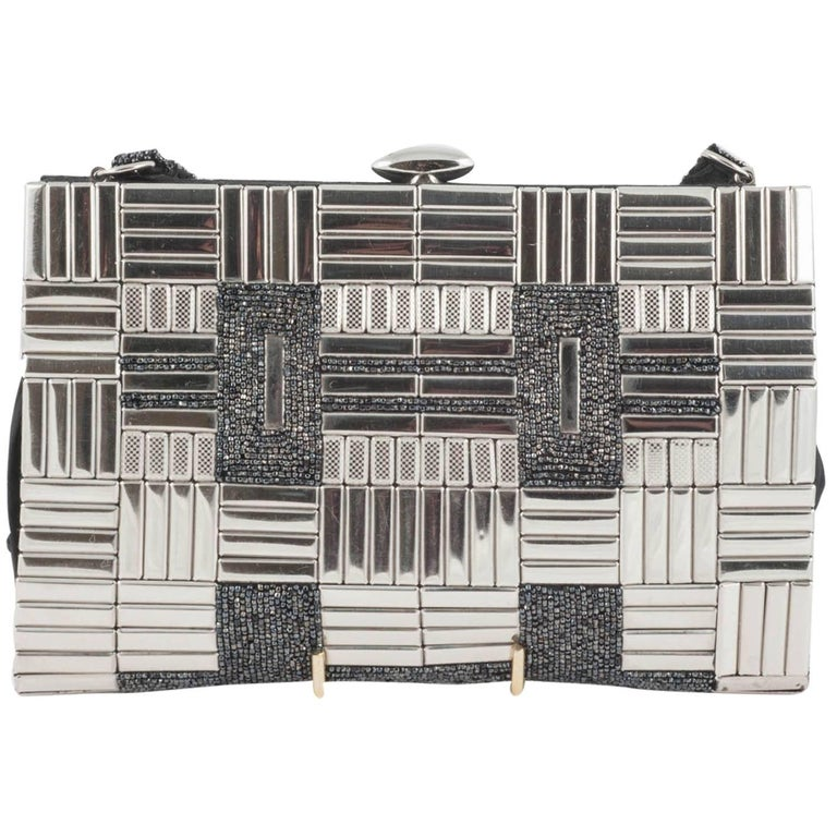 Chrome and metallic bead 'patchwork' handbag, 1930s