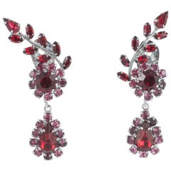 Pink and ruby paste drop earrings, Austrian, 1950s