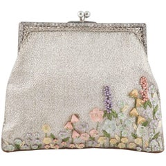 Exquisite silver clutch, with hand painted flower decoration, 1920s