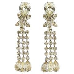 Schoeffel Austria yellow diamond paste and rhodium plated earrings 1980s