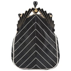 Celluloid and silk 'chevron' handbag, 1930s
