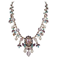 Beautiful necklace, and matching earrings, Maryse Blanchard, France,1960s
