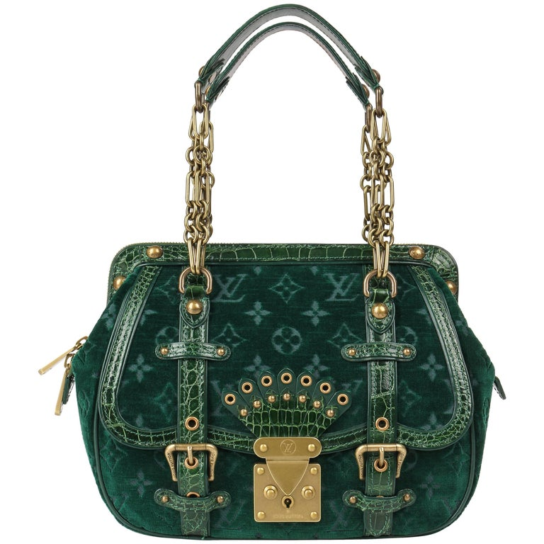 "LOUIS VUITTON A/W 2004 ""Gracie MM"" Green Monogram Velour & Alligator Purse LTD"