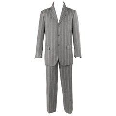 ALEXANDER McQUEEN c.2001 2 Pc Gray & Red Pinstripe Wool Jacket Pant Suit Set