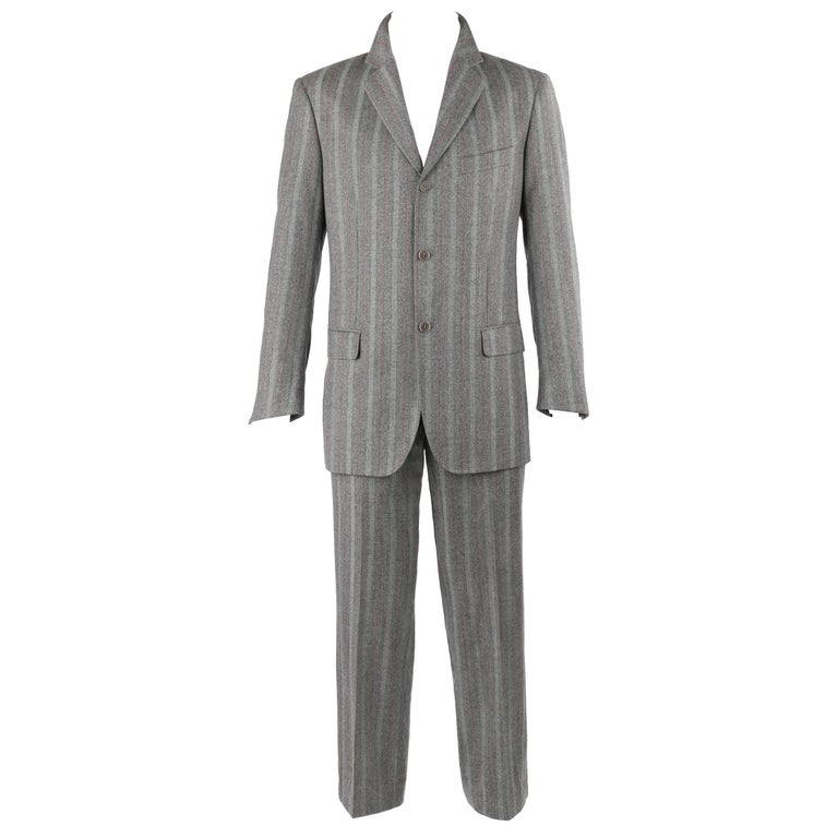 ALEXANDER McQUEEN c.2001 2 Pc Gray & Red Pinstripe Wool Jacket Pant Suit Set 1