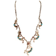 Navajo Sterling & Turquoise Hopi Kokopelli Fertility Style Necklace