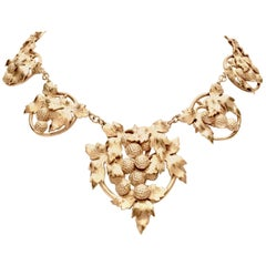 Art Nouveau George Jensen Style Sterling Silver Grape Cluster Necklace