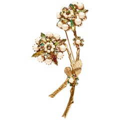 60'S Alice Caviness Gold Pearl & Crystal Double Flower Brooch