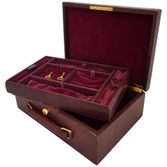 Hermes Lizard Skin Jewelry Box with Velvet Lining
