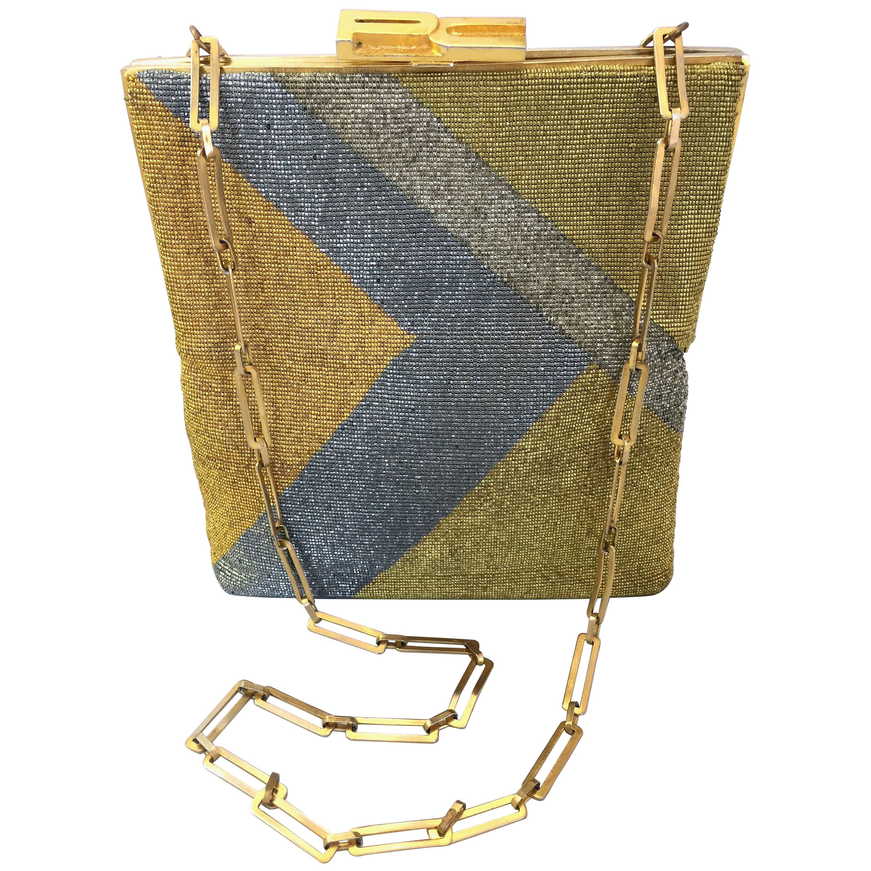 Pierre Cardin Gold and Silver Beaded Monogram Handbag