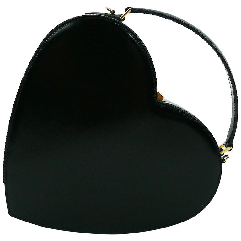 Moschino Vintage Rare Iconic Black Patent Leather Heart Bag For