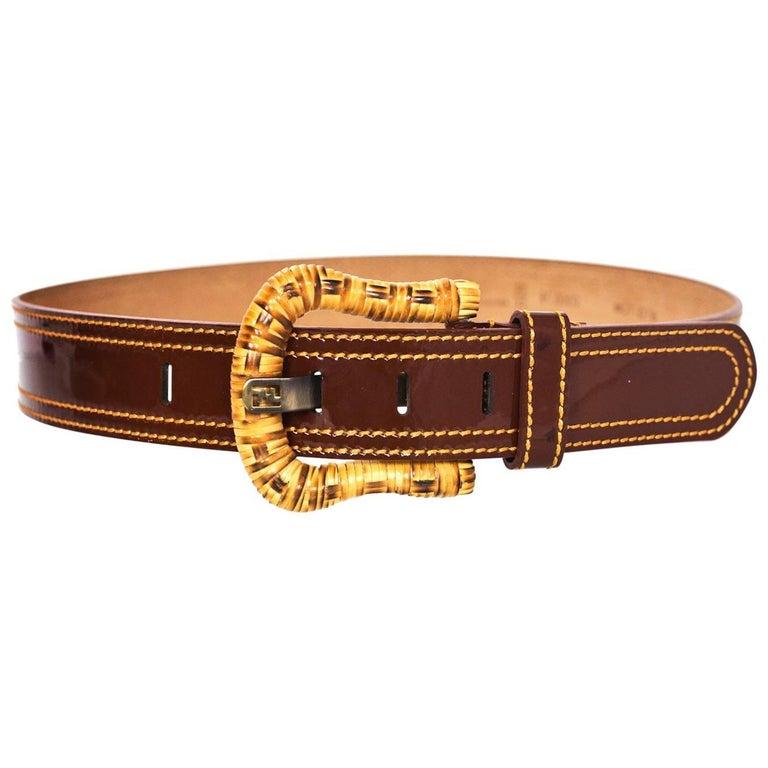 Fendi Brown Patent Leather & Wicker Belt sz 80