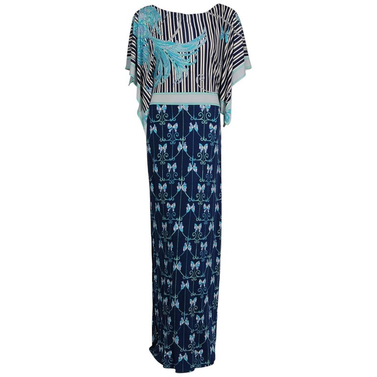 1974 Emilio Pucci Blue Peacock Novelty Print Silk Handkerchief Sleeve Maxi Dress For Sale